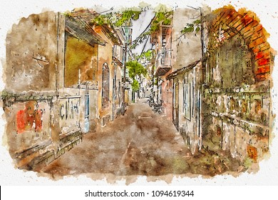 Sketch of the old stone street in Europe in watercolor