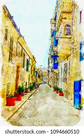 Sketch of the old street in Malta in watercolor bright colors