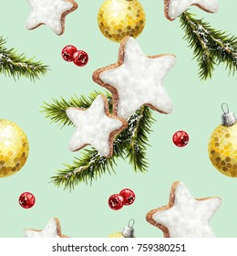 sketch on a holiday theme attributes of the new year and Christmas picture of a tree balls gift cookie lollipop Christmas tree branches and berries pattern 4 lime background