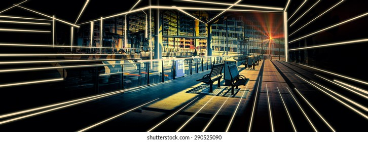 sketch and photo combination of rail  Station