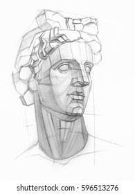 A sketch of the plaster head of Apollo in a pencil. Academic drawing.