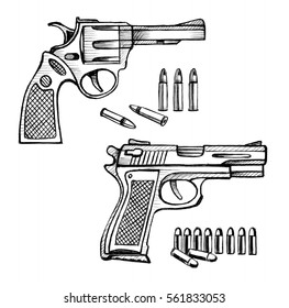 Sketch  revolver gun with bullets. Stock illustration on a white background.