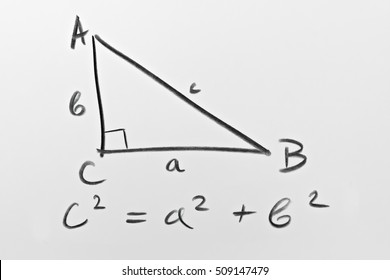 Sketch of a right triangle and the famous Pythagorean formula