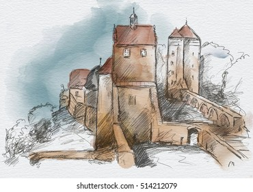 Sketch of Ruins of the medieval Stolpen castle, Saxony, Germany
