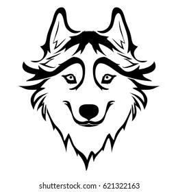 Sketch of Siberian husky. Hand drawn portrait of dog.
