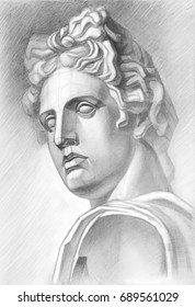 Sketch with a soft pencil. A sketch of the plaster head of Apollo in a pencil. Academic drawing.