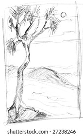 Sketch of tree in countryside, isolated on white background.