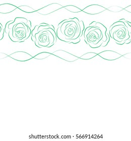 Sketch with white and green flowers. Hand drawn. Horizontal seamless rose pattern with copy space (place for your text).
