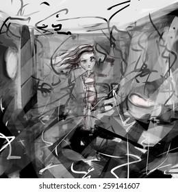 Sketch Woman chaos