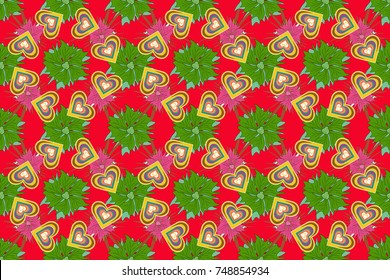 Sketch in yellow, red, green colors. Seamless raster flowers in doodle style for scrapbooking. Save the date card, postcard, flyer or wedding invitation, wallpaper, wrapping paper, background.