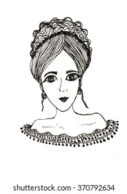 A sketch of the young woman, hand draw illustration of a woman, black and white drawing. cartoon drawing.