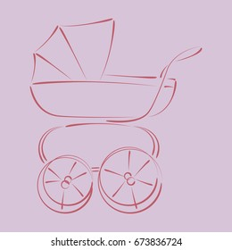 Sketched baby stroller buggy. Harmonic colors.