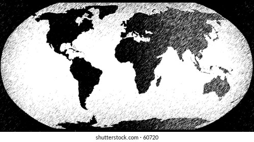 Sketched / etched world in charcoal