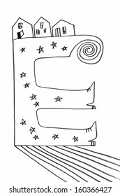 The sketched illustration of an alphabet letter E with curls, stars, shoes and houses