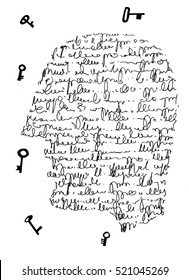 The sketched illustration of the fantasy face made of letters and the flying keys hand drawn with the ink pen on the white background