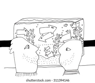 The sketched illustration of two men watching each other near the aquarium with the arrows hand drawn with the ink pen