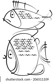 sketches of fish isolated on white background