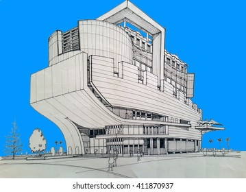sketching and design - conceptual design of the seaside hotel - view 1