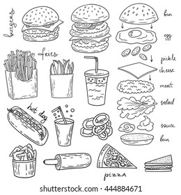 Sketchy fast food illustrations. Raster american cuisine art with burger, hot dog and fries.