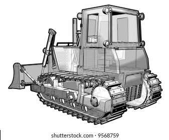 A sketchy schematic illustration of a treaded earth moving vehicle.