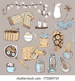 sketchy set. Cozy hygge elements, home interior details. Warm atmosphere, time to hygge. Handdrawn.