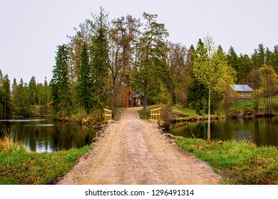 Skete on the island of Valaam on the shore of a small lake in early spring.