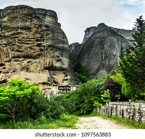The skete of Saint Nicholas of Bandovas. Skete of the Monk Gregory. The Skete of Saint Anthony. Part of the monastery of the Holy Trinity.  Monasteries on the top of rock in Meteora, Greece.