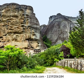 The skete of Saint Nicholas of Bandovas, Monk Gregory. The Skete of Saint Anthony. Part of the monastery of the Holy Trinity.  Monasteries on the top of rock in summer day in Meteora, Greece.