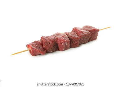 Skewer with raw meat isolated on white background