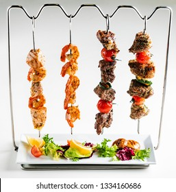 Skewer set with white background