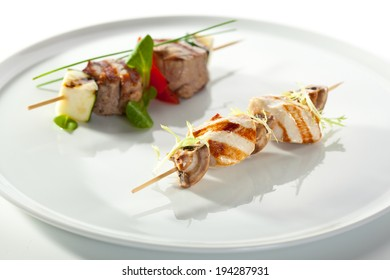 Skewered Food - BBQ Beef with Vegetables and Chicken with Mushrooms