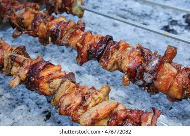 skewered meat Florence Tuscany Italy