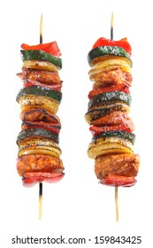 Skewers of chicken, onions,paprika and zucchini