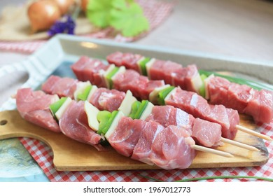 skewers, delicious raw meat, raw skewer ready for the grill