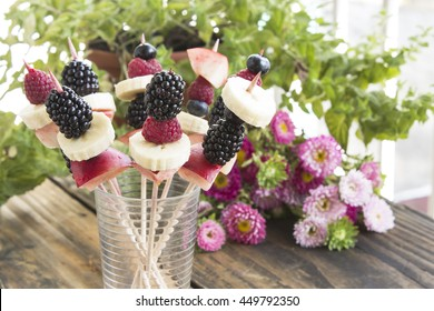 Skewers of Fruit in a Glass - Fruit Snack.
