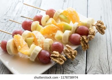 Skewers of healthy fruit