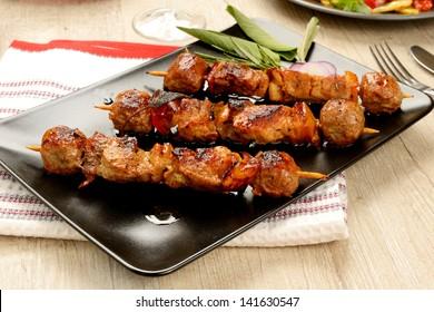 Skewers of meat roasted