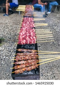 Skewers of meat that are cooked on the grill