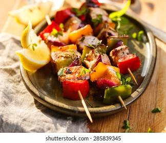 Skewers of salmon and vegetables