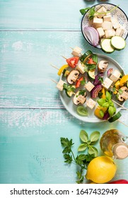 Skewers with vegetables and tofu, vegan grill alternative, clean eating, trend summer food, topc view, grilling