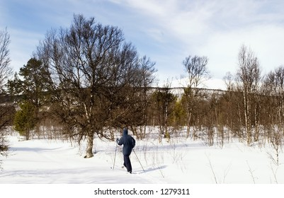 A ski adventure on a snowy landscape