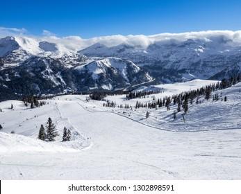 Ski Amade Zauchensee ski area in Salzburg land, Austrian Alps.