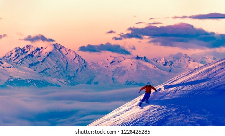 Ski with amazing view of swiss famous mountains in beautiful winter powder snow. The skitouring, backcountry skiing in fresh powder snow.