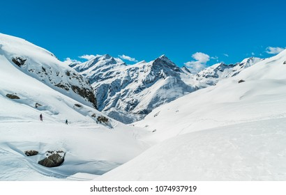 Ski area in Gressoney Monte Rosa Masif, Italy. Alps. Ski Slopes. Skiers. Free ride resort. Winter mountain landscape. Amazing view. Beautifull Mountains. Glaciers. Winter season. Backountry ski powder