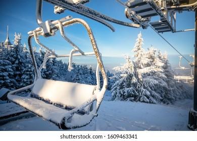 Ski areal Jested in sunny winter day in mountain near Liberec, Czech Republic - Shutterstock ID 1609463341