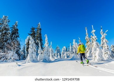 Ski in Beskidy mountains. The skituring man, backcountry skiing in fresh powder snow.