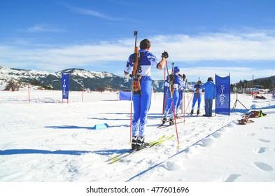 ski biathlon competition in Metsovo Ioannina Greece