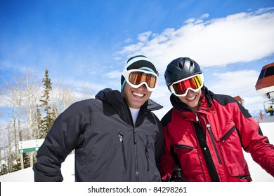 Ski Buddies having fun skiing