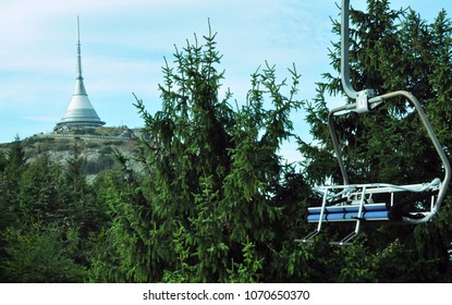 Ski chairlift around building of a hotel in the Jested tower on the mountain, Liberec, Czech Republic
