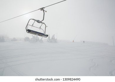 Ski chairlift on mountain in the winter